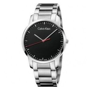 Gents City Black Dial Bracelet Quartz Watch