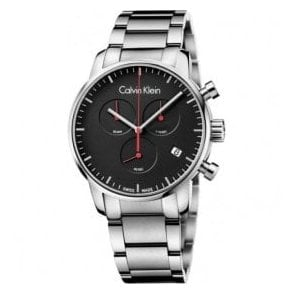Gents City Chronograph Black Dial Bracelet Quartz Watch