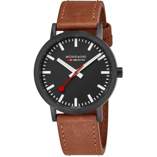 Mondaine Gents Classic Black PVD Brown Leather Strap Quartz Watch