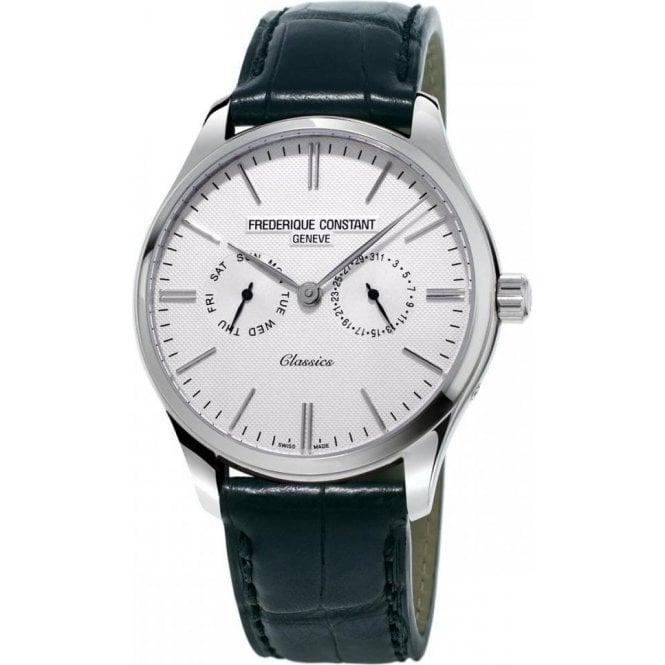 Frederique Constant Gents Classics Day-Date White Dial Black Strap Quartz Watch