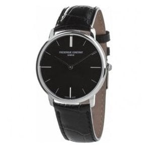 Gents Classics Slimline Black Dial Black Strap Quartz Watch