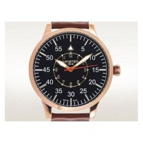 Gents Copper PVD Bradnor On Strap Black Dial