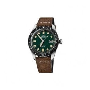Gents Divers Sixty-Five Green Dial Brown Strap Automatic Watch