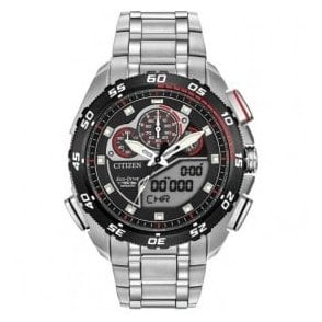 Gents Eco-Drive black dial multi-function bracelet watch