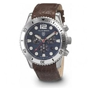 Gents Elliot Brown Bloxworth Grey Dial and Leather Strap Watch