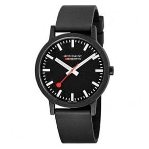 Gents essence Black Dial Black Rubber Strap Quartz Watch