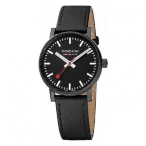 Gents evo2 Black IP Black Dial Black Leather Strap Quartz Watch