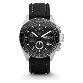 Gents Fossil Decker Chronograph Black Leather Strap Watch