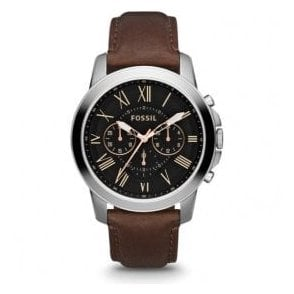 Gents Fossil Grant Chronograph Black Dial Brown Strap Watch