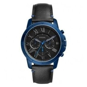 Gents Fossil Grant Chronograph Blue IP Black Dial Watch