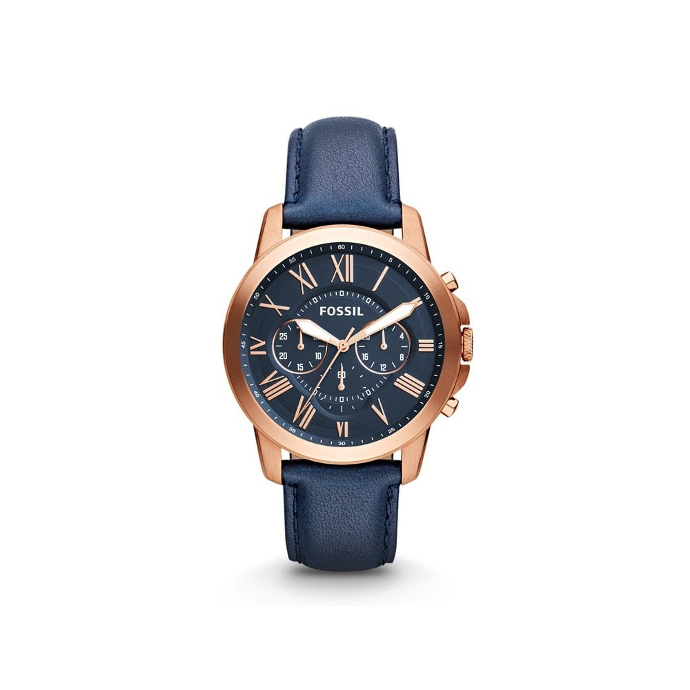 6202709a3 Fossil Fossil GentsGrant Chronograph Rose PVD Blue Strap Watch ...