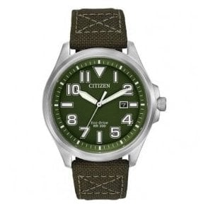 Gents green dial Eco-Drive canvas strap watch