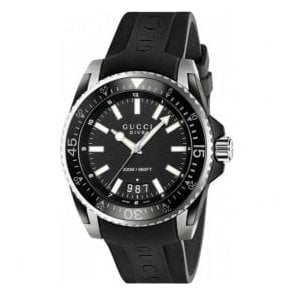 Gents Gucci Dive Black Dial Black Rubber Strap Watch
