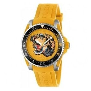 Gents Gucci Dive Yellow Tiger Motif Dial and Rubber Strap Watch