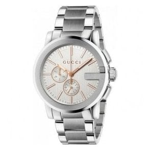 Gents Gucci G-Chrono Silver Dial Chronograph Bracelet Watch