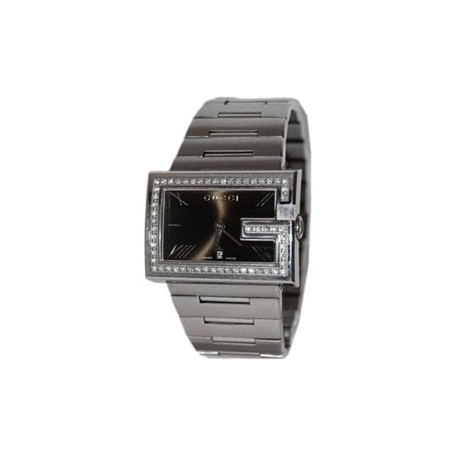 Gucci Gents Gucci G-Rectangle Black Dial Diamond Set Bezel Watch