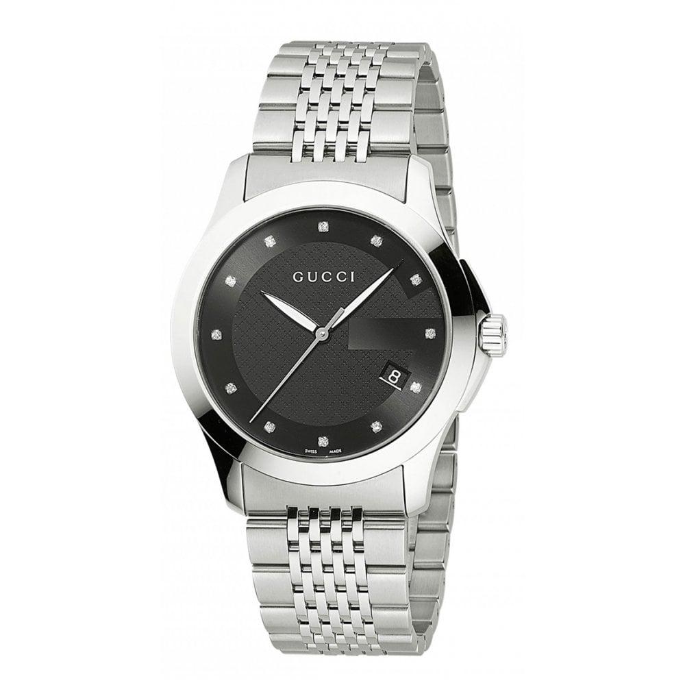 7b920d08931 Gucci Gucci GentsG-Timeless Black Diamond Set Dial Bracelet Watch ...
