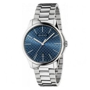 Gents Gucci G-Timeless Blue Diamante Dial Bracelet Watch