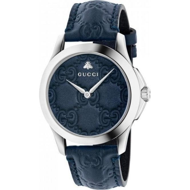 Gucci Gents Gucci G-Timeless Blue Leather Dial and Strap Watch