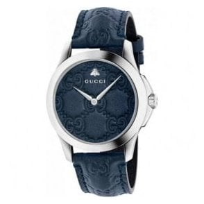 Gents Gucci G-Timeless Blue Leather Dial and Strap Watch
