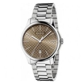 Gents Gucci G-Timeless Brown Diamante Dial Bracelet Watch
