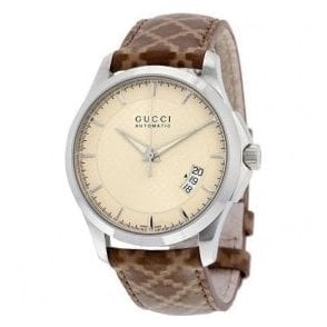 Gents Gucci G-Timeless Cream Dial Brown Strap Automatic Watch