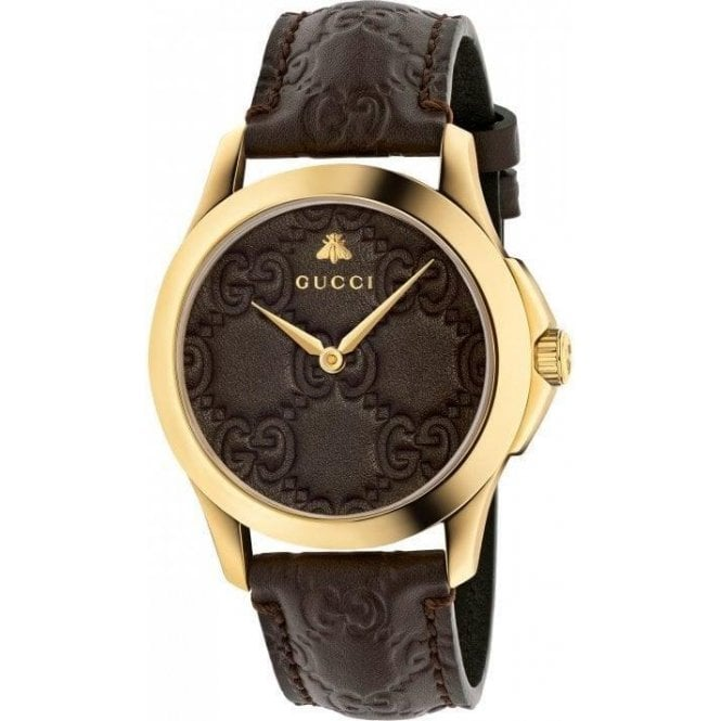 Gucci Gents Gucci G-Timeless GG-Brown Leather Dial and Strap Watch