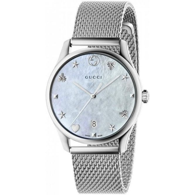 Gucci Gents Gucci G-Timeless MOP Dial Mesh Bracelet Watch