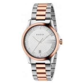 Gents Gucci G-Timeless Silver Dial Two Tone Bracelet Watch