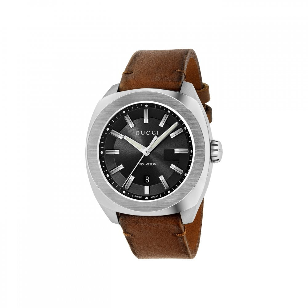 19d6ad48619 Tap image to zoom. Gents Gucci GG2570 Black Dial Brown Leather Strap Watch