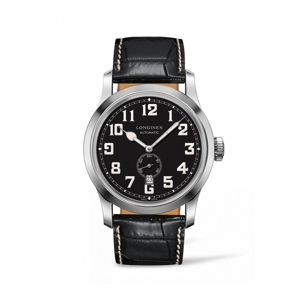 46b90a31a Longines Gents Heritage Military Black Leather Strap Automatic Watch