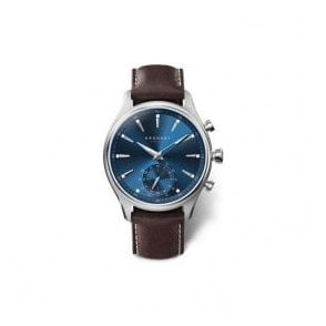 Gents Kronaby Sekel Blue Dial Brown Strap Hybrid Smartwatch