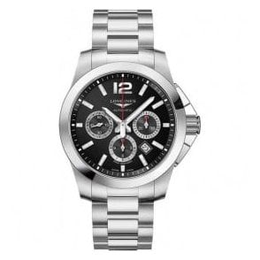 Gents Longines Conquest Black Dial Automatic Chronograph Watch