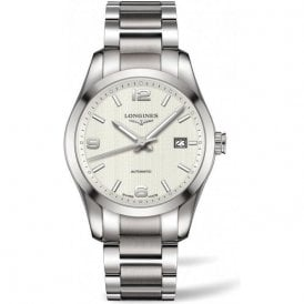Gents Longines Conquest Classic Silver Dial Bracelet Watch