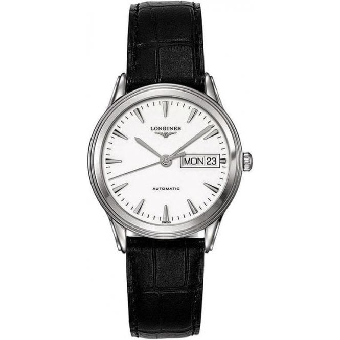 Longines Gents Longines Flagship Day-Date Black Leather Strap Watch