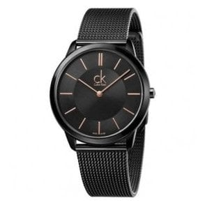 Gents Minimal Black PVD Mesh Bracelet Quartz Watch