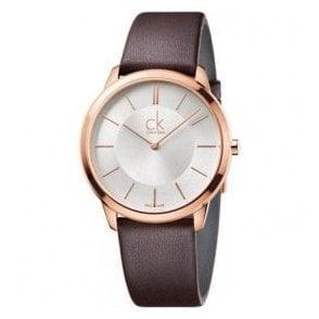 Gents Minimal Rose Gold PVD Silver Dial Brown Strap Quartz Watch