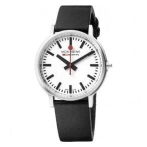 Gents Mondaine Stop2Go Black Strap Watch