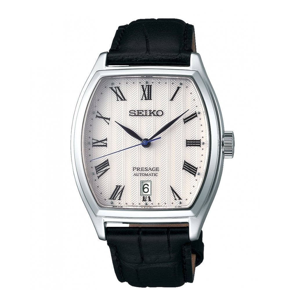 Gents Presage White Dial Tonneau Case Automatic Watch