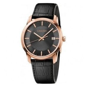 Gents Rose Gold Coloured 'Infinte' Black Dial and Strap Watch