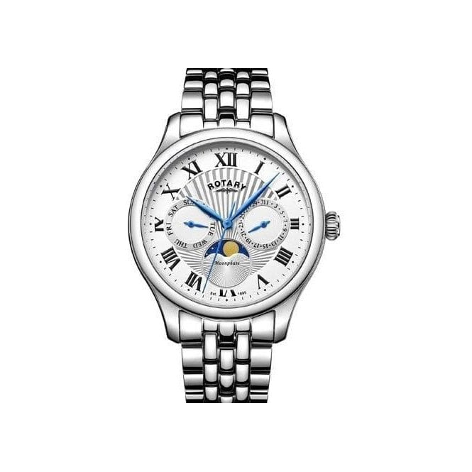 Rotary Gents Rotary Moonphase Stainless Steel Bracelet Watch