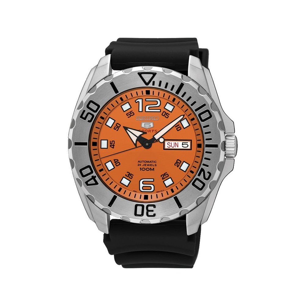 Gents 5 Sports Automatic Orange Dial Rubber Strap Watch