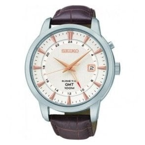 Gents Seiko Kinetic GMT Brown Leather Strap Watch