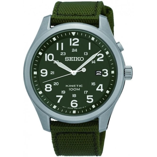 Seiko Gents Seiko Kinetic Green Dial Green Fabric Strap Watch