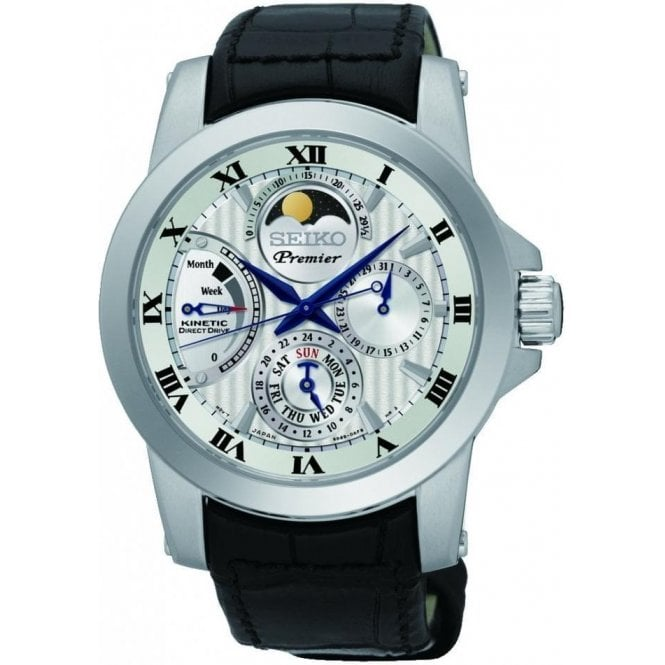 Gents Seiko Premier Kinetic Perpetual Calender Moonphase Watch