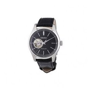 Gents Seiko Presage Automatic Black Leather Strap Watch