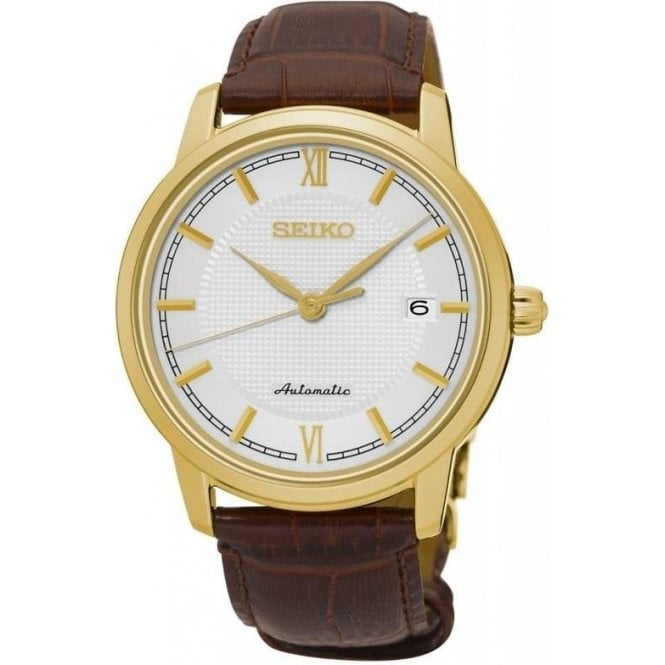 Seiko Gents Seiko Presage Automatic Gold PVD Brown Leather Strap Watch