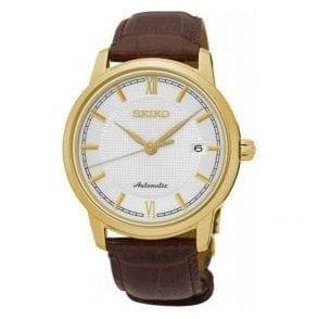 Gents Seiko Presage Automatic Gold PVD Brown Leather Strap Watch