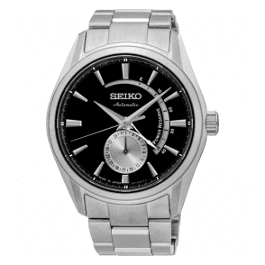 Gents Seiko Presage Automatic Power Reserve Black Dial Watch