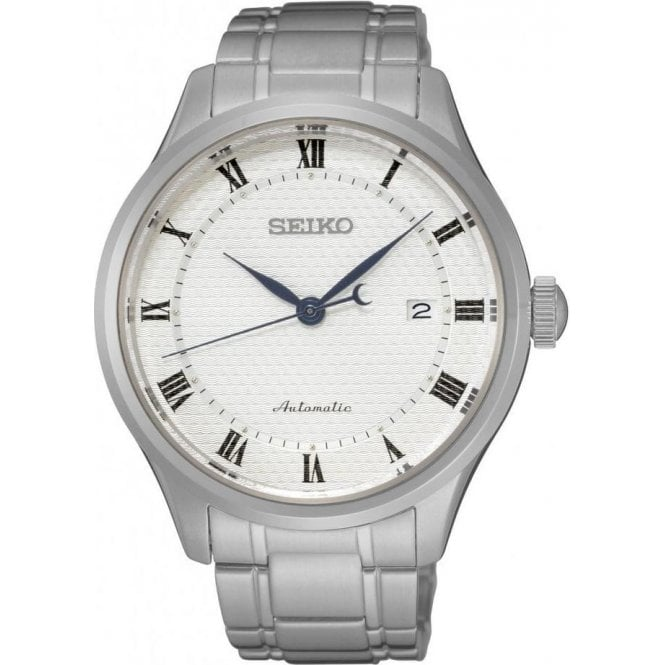 Seiko Gents Seiko Presage Automatic White Dial Bracelet Watch